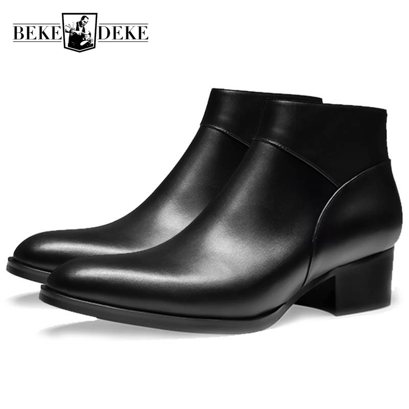 Working Ankle Dress Boots Round Toe