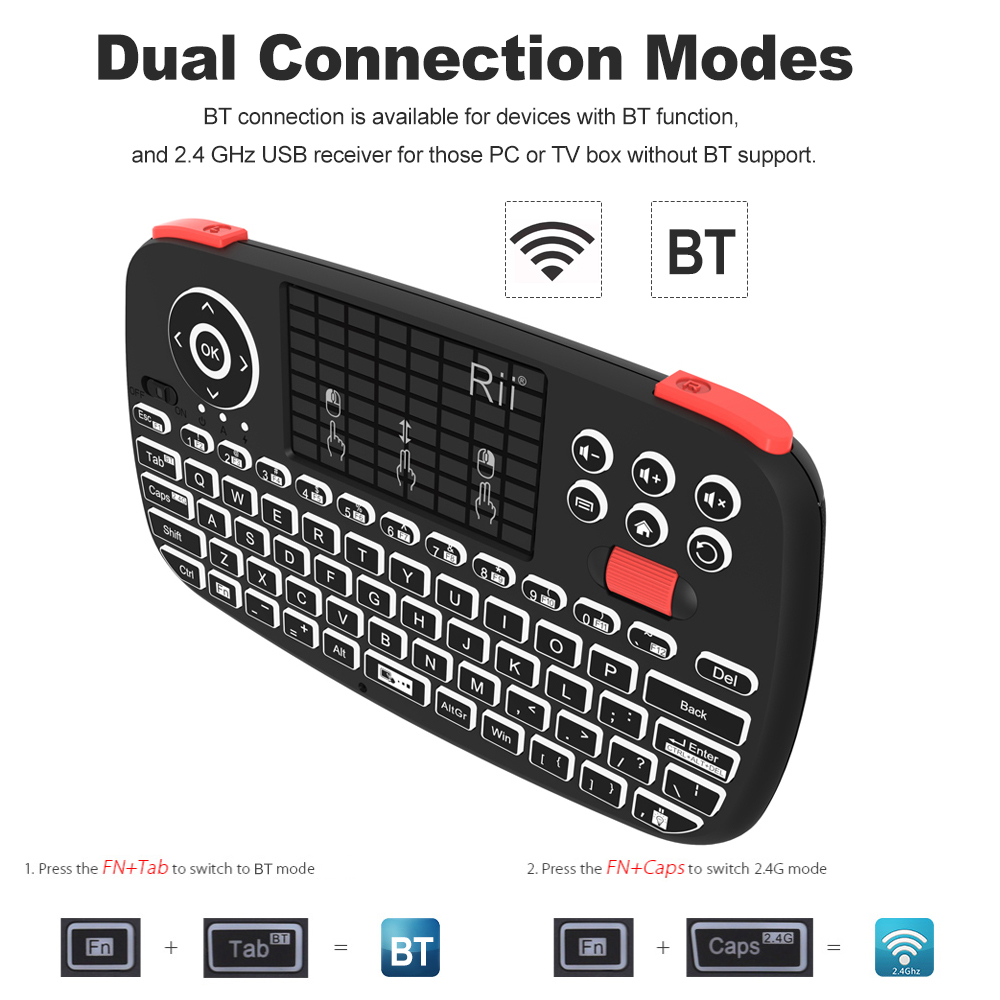 Image 3 - Rii i4 Mini Bluetooth Keyboard 2.4GHz Dual Modes Handheld Fingerboard Backlit Mouse Touchpad Remote Control for Windows AndroidKeyboards   - AliExpress