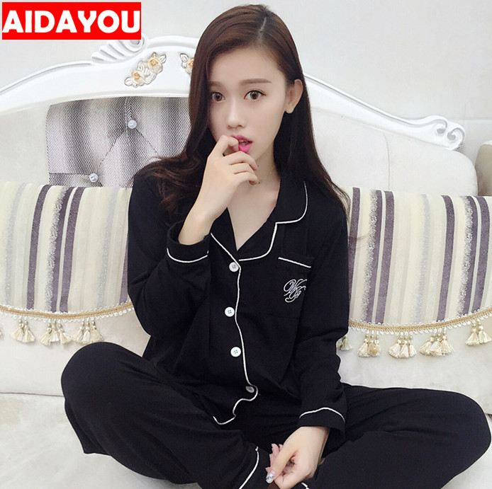 Womens Pajamas Suits 2 Pieces Pj Home Kawaii Korean Style Long Sleeve Button-Down Silk Satin Sleepwear Ouc008