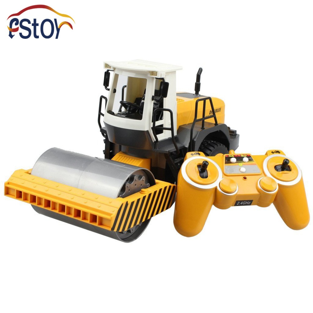 2.4G RC Road Roller Remote Control 2 Rubber Wheel Drive Engineer Truck Toy