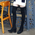 Mulheres Sexy Coxa Botas Altas de Camurça Stretch Tecido Fino Moda sobre Botas Até o Joelho apontado Toethick Salto Alto Mulher Sapatos Pretos cinza