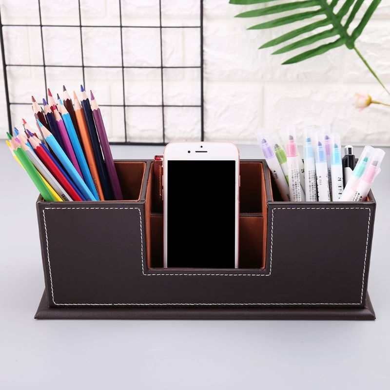 Desk Accessories & Organizer Multifunctional Office Desktop Decor Storage Box Leather Stationery Organizer Pen Pencils Remote Control Mobile Phone Holder