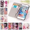 Para a apple iphone 6 s plus se 5 5S 5c 4 4S pu couro phone case padrão borboleta flor bandeira pintada tampa flip estilo carteira