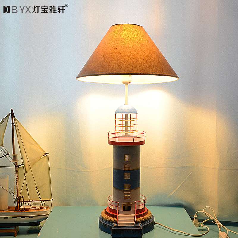 ФОТО 2016 new Mediterranean lighthouse LED lamp children's room bedroom lamps creative bedside table lamp