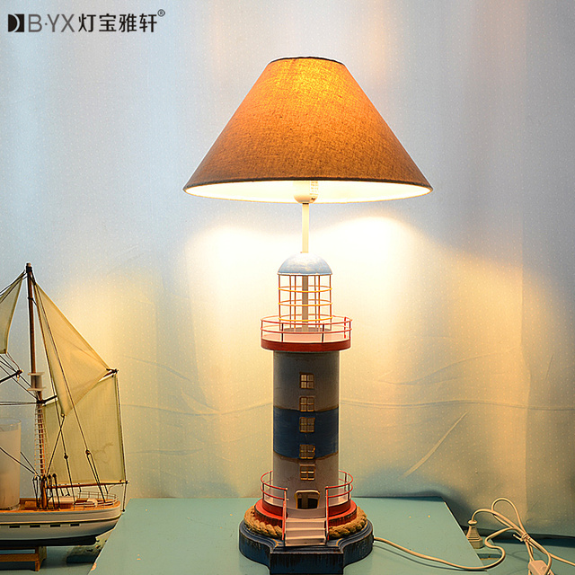 2016 new Mediterranean lighthouse LED lamp children's room bedroom lamps creative bedside table lamp