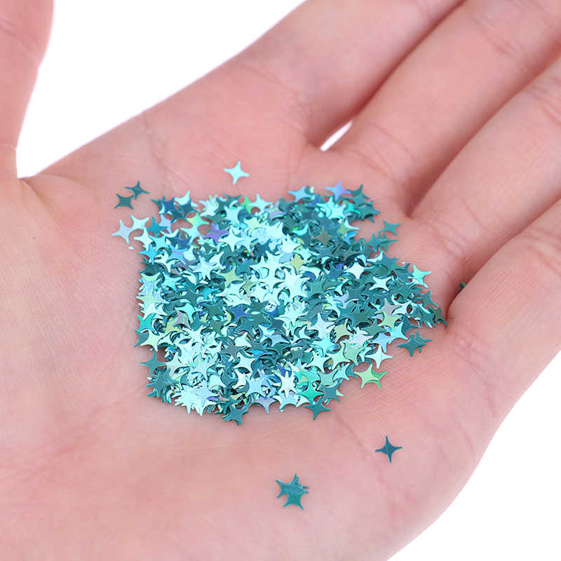 10g/pack Four Star Glitter Diy Crystal Slime Supplies Ultra-thin Slices Nails Art Tips Box Accessories Decoration Toys For Kids