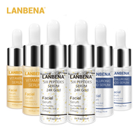 LANBENA 24K Gold Six Peptides Serum Vitamin C+Hyaluronic Acid Anti-Aging Face Cream Acne Moisturizing Whitening Skin Care 6PCS Face Care Serum
