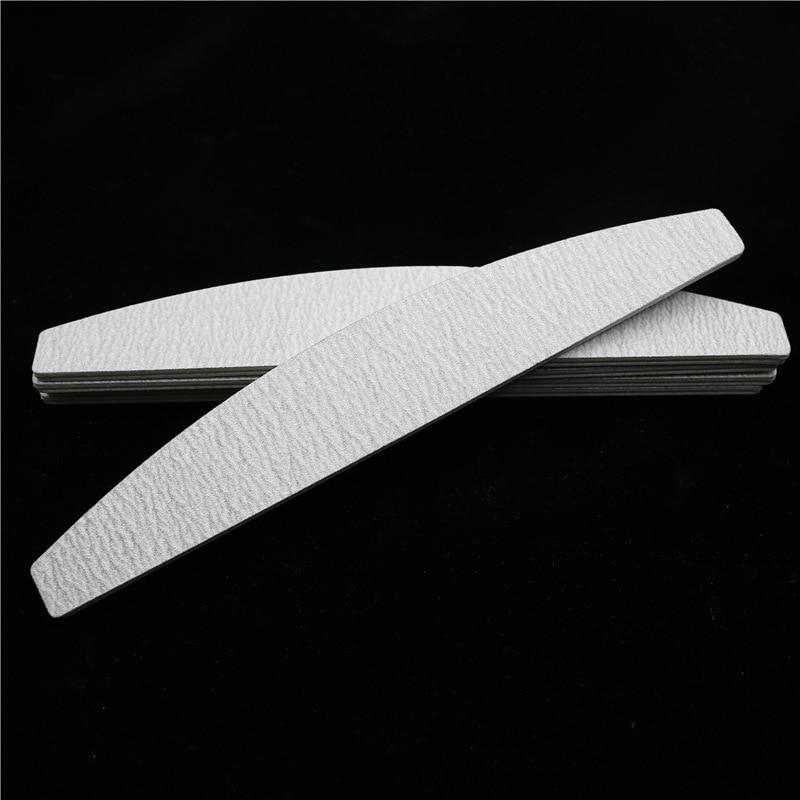 10 X Grey Nail Files Sanding 100/180 Curve Banana For Nail Art Tips Manicure Tools
