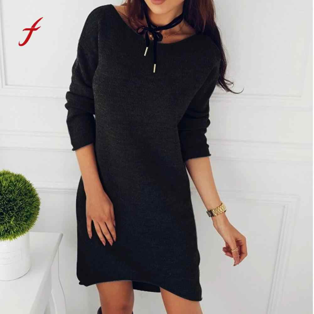 Long Sleeve Pullove Dress Fashion Women Solid O-Neck Sweater Long Casual  autumn elbise elegant b19b52712a9d