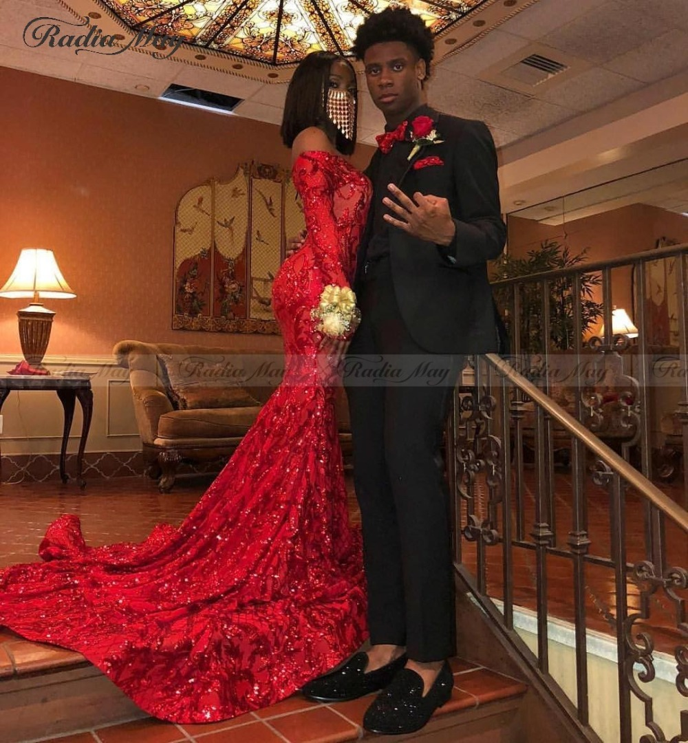 US $169.6 20% OFF Elegant Off Shoulder Red Long Sleeves Mermaid Prom  Dresses 2k19 Sparkly Sequin African Plus Size Formal Gowns Graduation  Dress-in ...