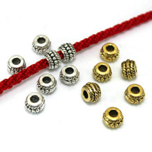 TJP 20 Tibetan Silver/Gold Drum Round Spacers Beads for Necklaces Bracelets DIY Jewelry Making Findings 8mm