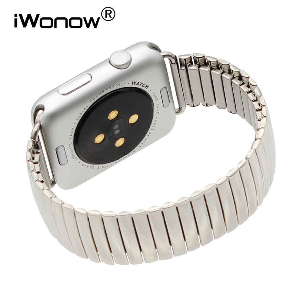 Stainless Steel Watch Band for iWatch Apple Watch 38mm 42mm Elastic Strap Replacement Link Wrist Belt Bracelet Silver + AdaptersStainless Steel Watch Band for iWatch Apple Watch 38mm 42mm Elastic Strap Replacement Link Wrist Belt Bracelet Silver + Adapters