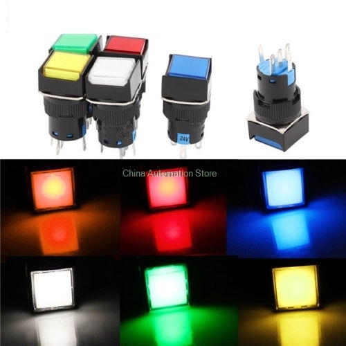 1Pcs DC 12V 16mm Push Button Self-Lock Latching Switch Square LED Light DC24V AC110V AC220V 50pcs lot 6x6x7mm 4pin g92 tactile tact push button micro switch direct self reset dip top copper free shipping russia