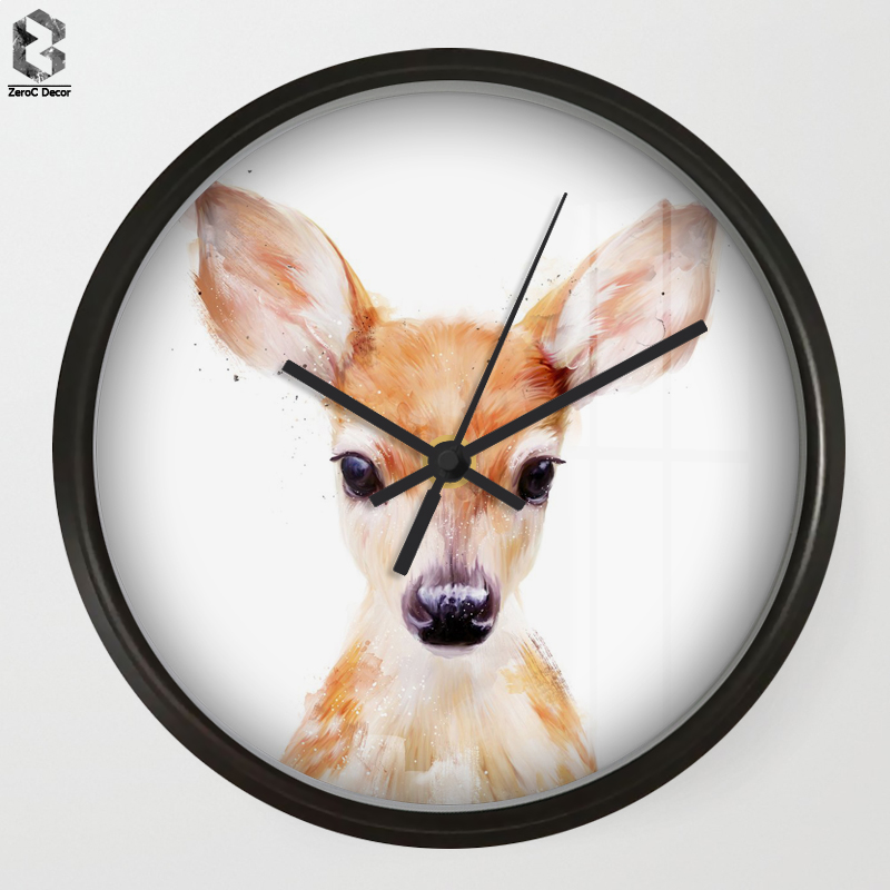 Chic Art Wall Clock Cute Deer For Kids Room Wall Decor, Table Decorative Mute Quartz Clo ...
