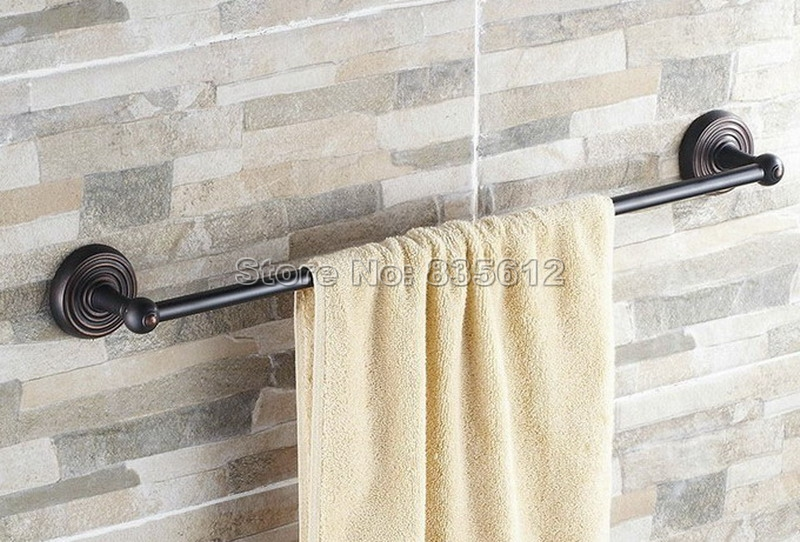 Bathroom Accessory Wall Mount Black Oil Rubbed Bronze Single Towel Rail Bar Wba126 allen roth brinkley handsome oil rubbed bronze metal toothbrush holder