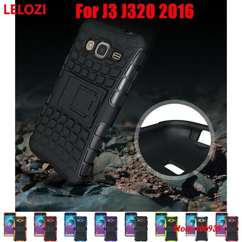 Galleria fotografica LELOZI Hard Armor Rugged PC Hybrid TPU Back Phone Mobile Phon Carcasa Etui Case For Samsung Galaxy J3 2016 J320 5.0 J 3 J 320