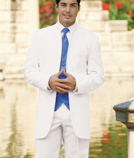 Custom Made White Groom Mens Tuxedo Suits With Blue Vest,Bespoke White Tuxedo,Tailored Long Section Without Collar Mens Suits