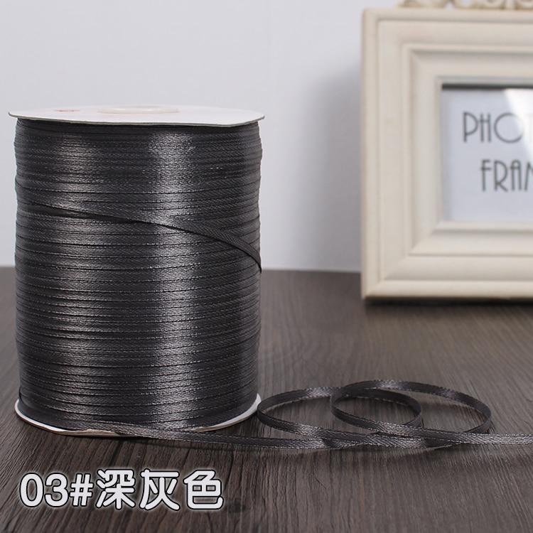 3 мм ширина бордовые атласные ленты 22 метра швейная ткань подарочная упаковка «сделай сам» ленты для свадебного украшения - Цвет: Dark Gray