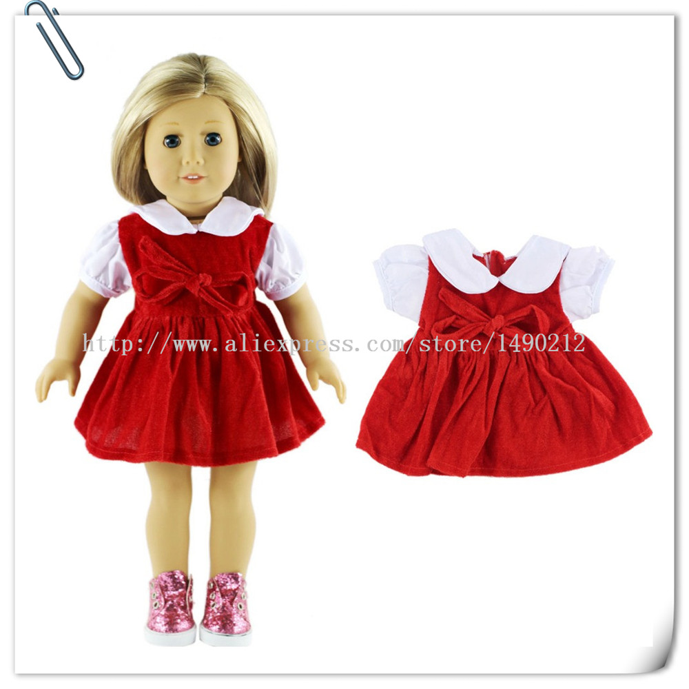 Fashion 45cm American Girl Doll Dress Clothes For18Inch American Girl Doll Accessories Aug-9 christmas costume dress for 18 45cm american girl doll santa dress with hat for alexander doll dress