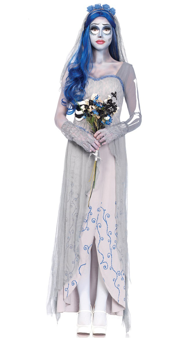 406642adea0 Tim Burton s Corpse Bride Cosplay Dresses Ghost Zombie Bride Costumes  Vampire Halloween Fancy Party Adult Clothes Witch Dress