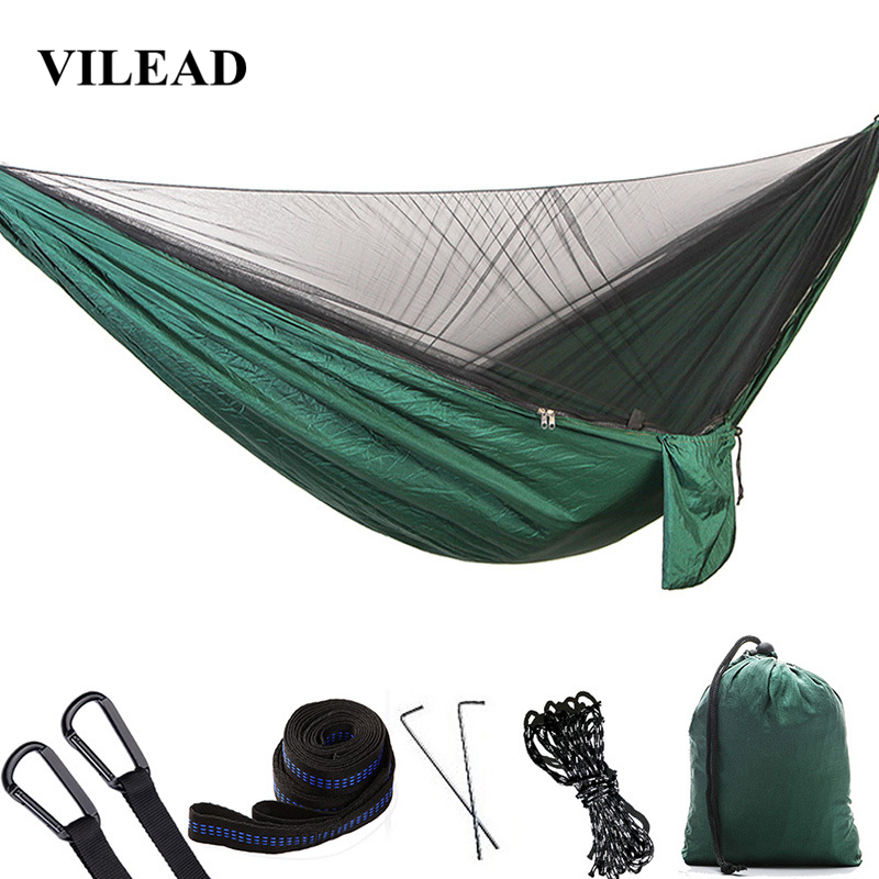 VILEAD 290*140 cm Camping Hammock with Mosquito Portable Stable High Strength Ultralight Hanging Bed Sleeping Hiking Camping Cot-in Camping Cots from Sports & Entertainment