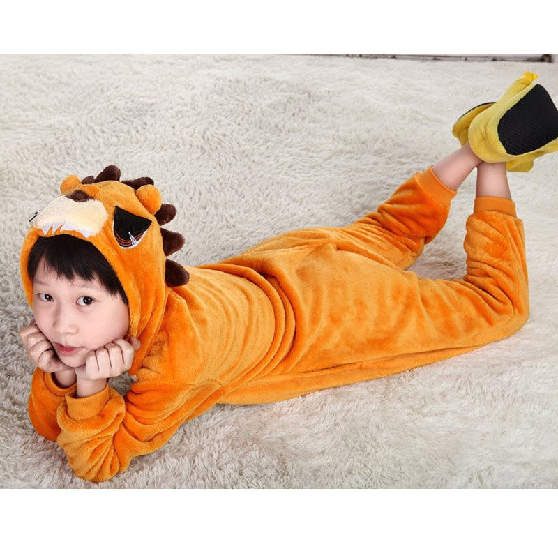 все цены на Lion Overalls Jumpsuit Kids Pijama Pockets Children Cosplay Costume Kigurumi Onesie Blanket Sleepers Pajama Hips With Zipper