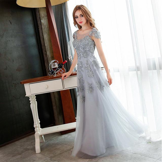 2017 Cinza Elegante Beading Lace Longo Vestidos mãe da noiva vestidos de festa Formal Vestidos soiree GF106 Vestido Mãe