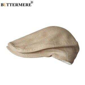 Image 2 - Buttermere 古典的なフラットキャップ男性チェック柄駆動キャップ男性ライトグレーヴィンテージカモノハシアイビー帽子夏英国帽子とキャップ