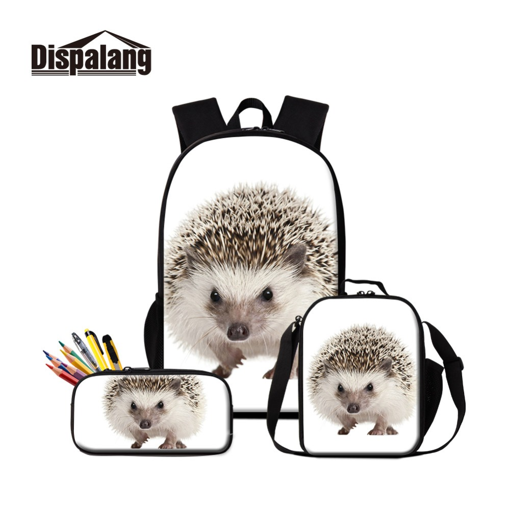 цена на Dispalang 2019 Style Hedgehog Prints on School Backpack and Lunch Cooler Bags Oxford Zipper Cute Lunch Box Bag with Pencil Cases
