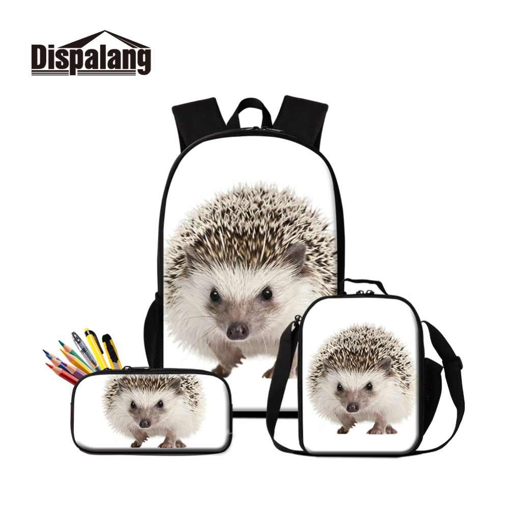 Dispalang 2019 estilo ouriço imprime na escola mochila e almoço refrigerador sacos oxford zíper bonito lancheira saco com lápis casos