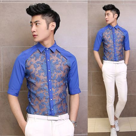 2015 new sexy perspective lace dress shirt fashion cool for Cool mens casual shirts