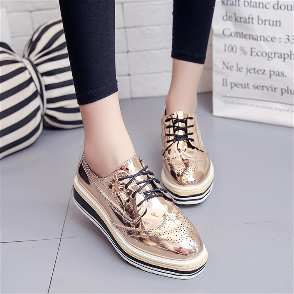 Women Outdoor Leather Casual Sports Shoes Lace-Up Thick-Soled Increase Shoes italian shoe and bag set for party in women blue #8 19