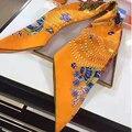 "Women Hot Sale Silk Scarf 35"" 90cm Kerchief Geometry Chain Pattern Women Hijab Occident Style Luxury Bandana BY169291"