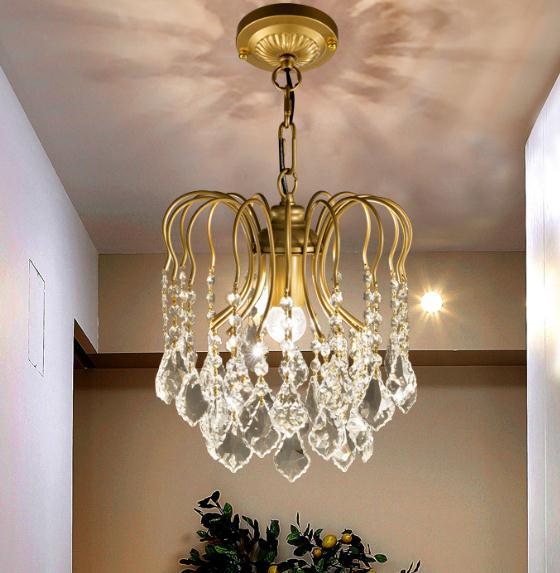 Retro do vintage American loft Ramos folhas livign quarto lustres de cristal lustre de cristal quarto luz