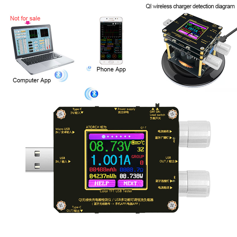 QI Wireless Quick Charge Detector Bluetooth Android PC App USB Color Tester Current Voltage Load Meter Indicator DC Voltmeter