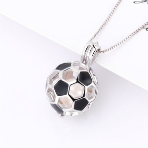 Image 5 - CLUCI 3pcs 925 Sterling Silver Soccer Ball Pendant Women Jewelry Gift Real Silver 925 Soccer Shaped Pearl Cage Locket SC373SB