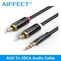Aiffect jack 2 rca macho para 3.5 cabo de áudio macho 1 m 1.5 m 2 m aux cabo para edifer home theater dvd vcd iphone fones de ouvido quente venda