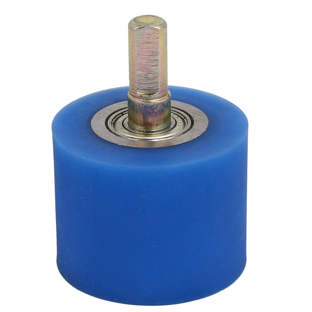 uxcell 1 Pcs 10mm Dia Shaft Coating Machine Silicon Rubber Wheel Roller 50 x 40mm Blue for Coating Machine Wheel Hot Sale image