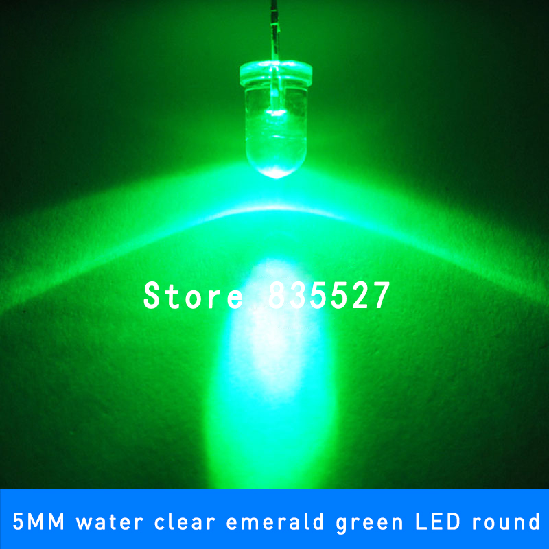 100pcs / Lot Emerald Green 5mm F5 Round LED Lamp Beads Super Bright LED Light-emitting Diodes (high Quality) For DIY Lights