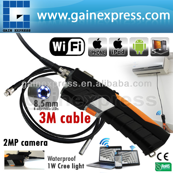 HD Waterproof 3M iPad IPhone iOS Android WiFi Inspection 8.5mm Camera Borescope Snakescope Endoscope 3 Meter Flexible Cable