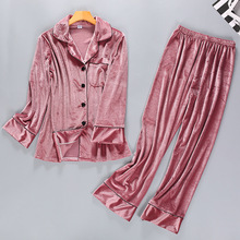 2019 New Spring Womens Velour 2PC Top Pants Suit Night Robe Sleepwear Sets  Casual Pajamas Home 0562f163bef