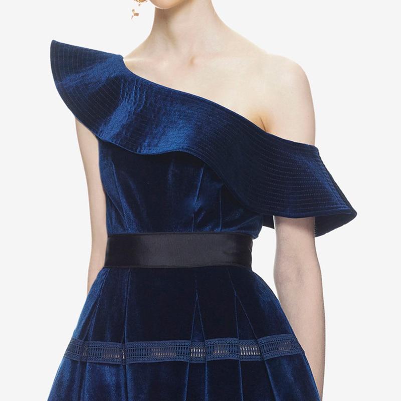 531de65d3b5 Aliexpress.com   Buy Self Portrait Dress 2018 Spring Sexy Elegant One  Shoulder Deep Blue Party Dress Ruffles Velvet Midi Women Dresses from  Reliable ...