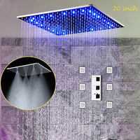 2018 Европейский потолок светодиодный душ Многофункциональный дождя и туман Насадки для душа комплект/смесителя массаж тела форсунки