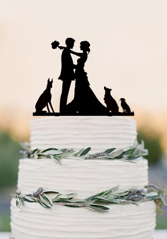Couple Wedding Cake Topper - Acrylic Cake Topper - Mr & Mrs - Bride and Groom Kissing - Custom Dog Cake Topper