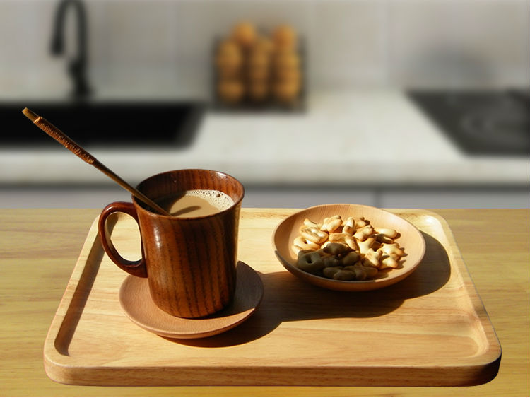 300ml Primitive Wooden Beer Mugs with Handle Natural Wood Mug Coffee Cup Tableware Kitchen Supply (5)