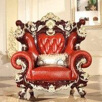 European Style Wooden Full Leather Sofa Sofa 1 2 3 Champagne Gold Colour
