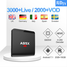 1 Year IUDTV IPTV Code UK Sweden Subscription A95XR1 Android 7.1 TV Box S905W Germany Indian Italy Greeca Arabic IP