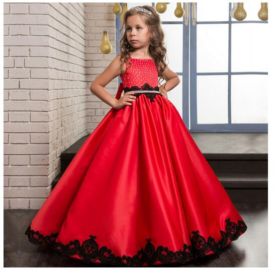 Girls Christmas Formal Dress 2017 Sleeveless Flower Girls Dresses Kids Party Bow Diamond Gown Children's Prom Wedding Dress girls formal dress 2017 sleeveless flower girls dresses kids party chiffon lace bow ball gown children s prom wedding dress