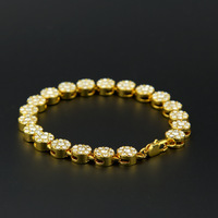 Top Quality 22 5cm Hiphop Rock Bracelet Men Silver Gold Black Iced Out 1 Row Rhinestones