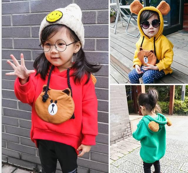 2016 Winter New Girl Hoodies Cartoon Bear Fleece Thick Sweatshirts Children Clothing 2-5Y DY8617